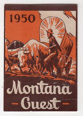 1950 MONTANA GUEST Travel DECAL Sticker TOURISM Wagon WESTERN Cowboy BIG SKY