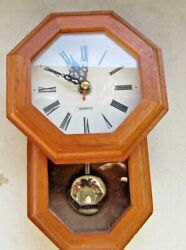 Decorative wall clock octagon face wood,glass cabinet quartz collectible vintage