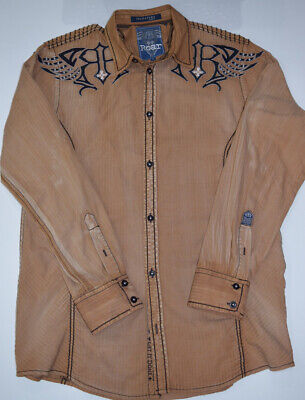 ROAR Signature Edition Mens Large Distressed Tan Embroidered Button Up Shirt