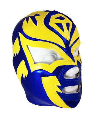 SOMBRA (pro-fit) Adult Lucha Libre Halloween Costume Mask - Blue/Yellow