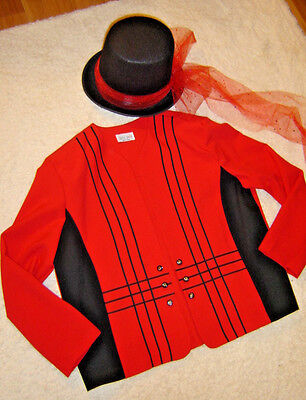 Mardi Gras Ringmaster circus costume womens 18 XL red jacket top hat](Ringmaster Jacket Women)