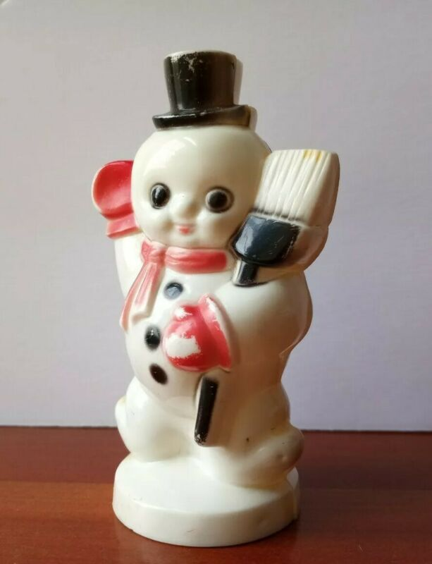 "Vintage Adorable 4"" Snowman Hard Plastic Wearing Top Hat  Waving With Broom"