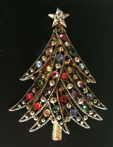 Vintage HOLLYCRAFT Christmas Tree Red Green Blue Rhinestone Crystal Pin Brooch