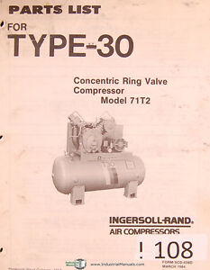ingersoll rand model 71t2 type 30 air compressors parts