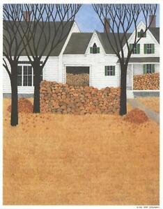 FOLK-ART-WHITE-FARM-HOUSE-AUTUMN-WOOD-LOGS-PILE-NIKKI-SCHUMANN-COLOR-ART-PRINT