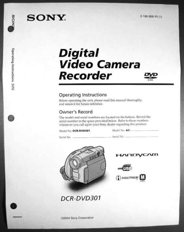 Sony DCR-DVD 301 Digital Camera User Guide Instruction  Manual