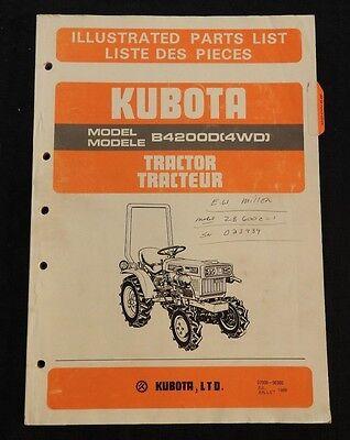 Genuine Kubota 4200 B4200 4wd Tractor Parts Catalog Manual Very Good Shape