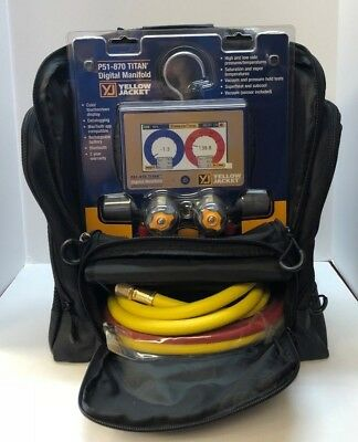 Yellow Jacket P51-870 Titan 4-valve Digital Manifold 40870 W Hoses