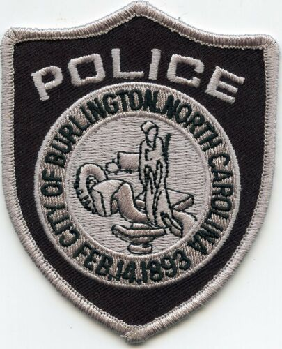 BURLINGTON NORTH CAROLINA NC Gray Border POLICE PATCH