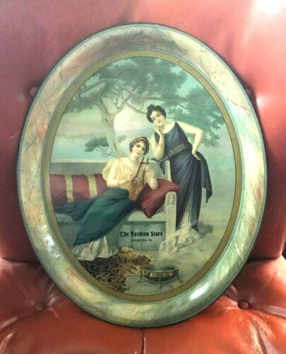 VINTAGE ORIGINAL THE FASHION STORE METAL - TIN LITHO ADV TRAY LEHIGHTON PA 1900S