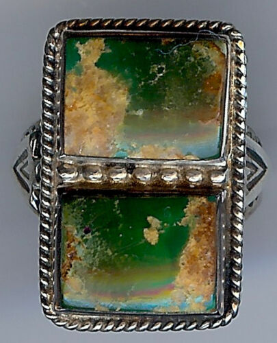 HANDSOME VINTAGE NAVAJO INDIAN SILVER GREEN TURQUOISE RECTANGLES RING SIZE 5*