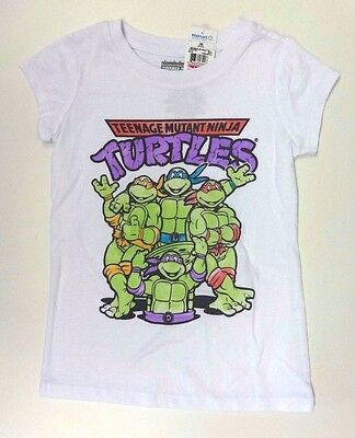 NINJA Turtle T-Shirt 134/140 weiss Sommer USA Mädchen US size 10/12 girl  ()