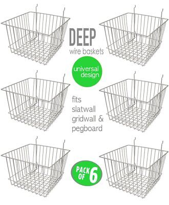 Only Hangers Deep Wire Baskets For Gridwall Slatwall And Pegboard- Chrome 6pk