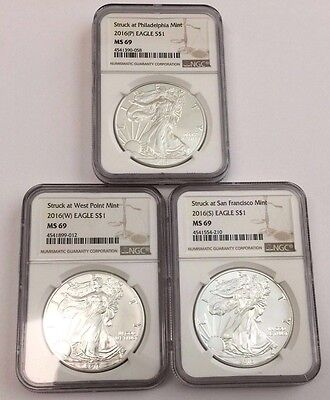 2016 (P) (W) (S) American Silver Eagle NGC MS69 3 COIN SET ~ Brown Label