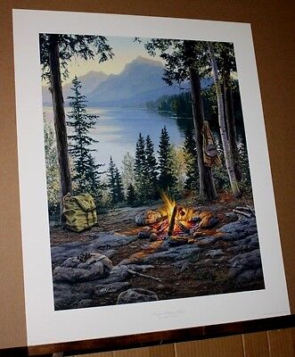 Room With a View by Darrell Bush Campfire Camping Mountains Water lake nature