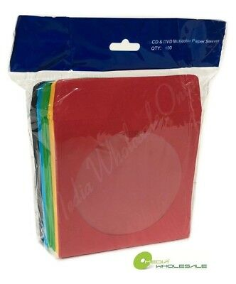 400 CD DVD Assorted Multi Color Paper Sleeve with Clear Window and Flap -