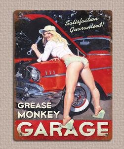 metal sign plaque vintage retro style Grease Monkey car garage man cave 20x15cm