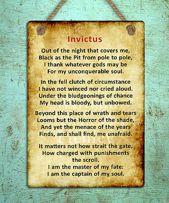metal hanging sign Invictus poem inspiring motivational quote wall door plaque