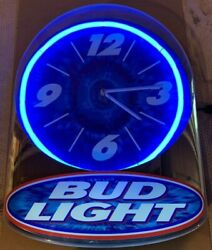 "Vintage Bud Light Neon Bar Wall Clock 14""x 17"""