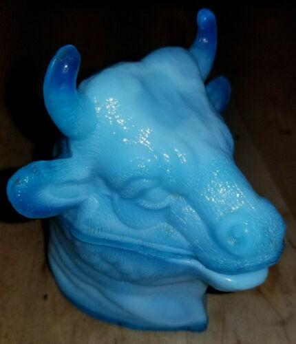 Opaque Blue Milk Glass Bull Steer Head Mustard Pot