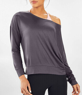 NWT - FABLETICS Women's 'BETTY PULLOVER II' Washed Pewter BOATNECK TOP - M (6-8)