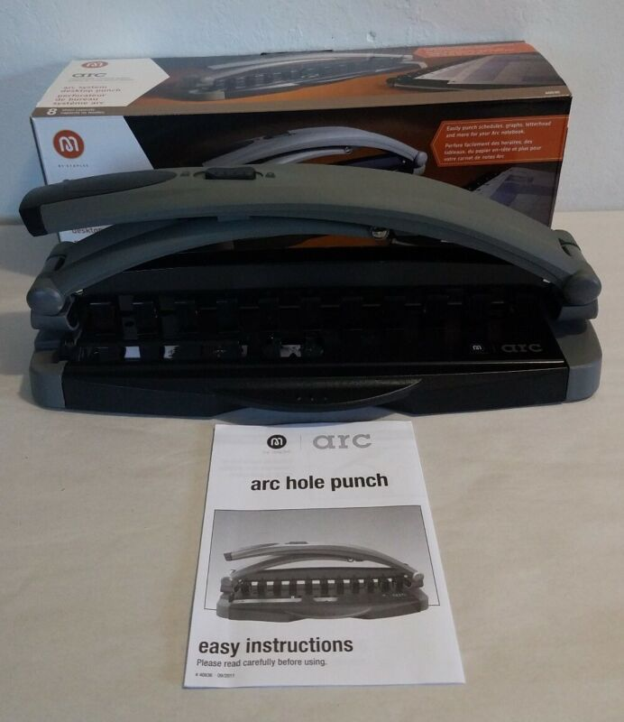Staples Arc System Desktop 11 Hole Punch 8 Sheet Capacity 40836 Preowned