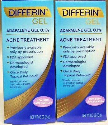 2 pk Differin Gel Adapalene Gel 0.1% Acne Treatment 15g 60 Day Supply 0.5 Oz