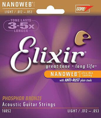 Brand New Elixir Nanoweb Light 012 - 053 Phosphor Bronze Acoustic Guitar Strings