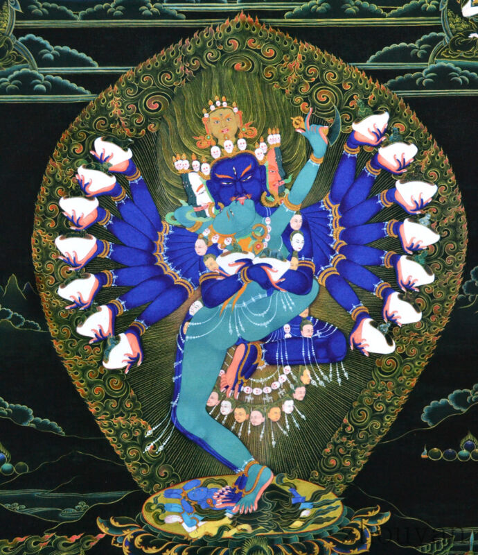"26"" NATURAL MINERAL COLOR SILKPRINT TIBET BLACK THANGKA: CHAKRASAMVARA HEVAJRA ="