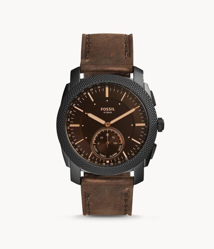 Fossil Q Men's Hybrid Watch-Machine Dark w Brown Leather Str