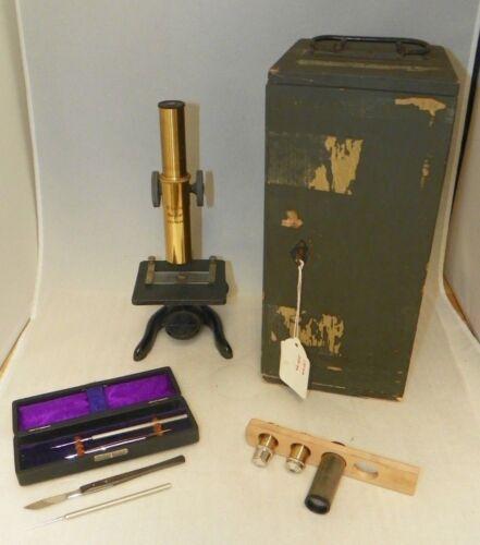 Antique E. Leitz Wetzlar Microscope Set No. 175169 Case & Tools 1923 ~ 170 & 250