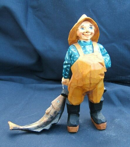 Vintage Henning (?) Folk Art Wood Carving of Fisherman