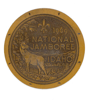 """Boy Scout 1969 National Scout Jamboree - Idaho - 4 3/4"""" Leather Patch for sale  Lyons Falls"""
