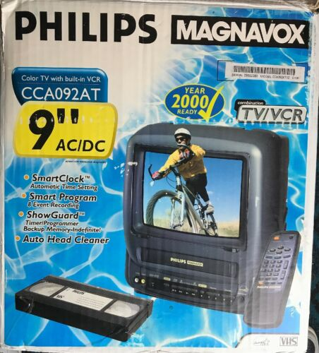 "PHILLIPS Magnavox 9"" TV VCR Combo Television - Model CCA092AT02 In Original Box"
