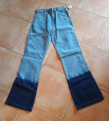 Mädchen Hippie Flower Power Jeans mit Schlag Fasching Karneval Fasend