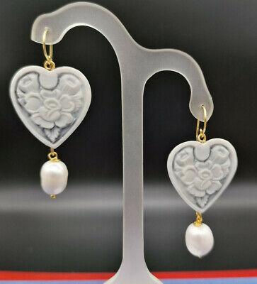 orecchini cuore e fiori cammeo con perla naturale orecchino pendente donna
