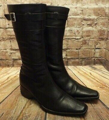 Womens Khrio Black Leather Zip Fastening Mid Heel Mid Calf Boots UK 5 EUR 38