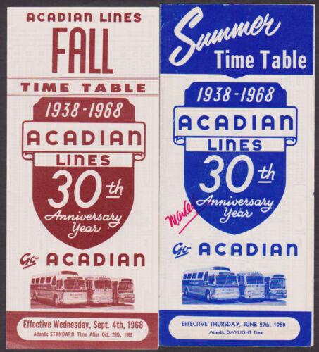 1938-1968 ACADIAN LINES Nova Scotia Summer & Fall Time Tables 30th Anniversary