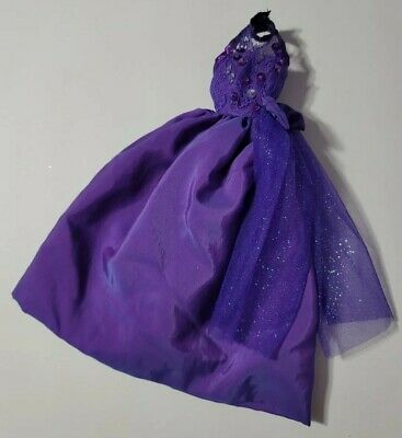 BARBIE DOLL CLOTHES PURPLE SEQUIN LACE TULLE BOW HALTER GOWN DRESS FORMAL STYLE