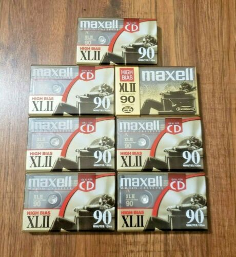 Lot of 7 Maxell XLII 90 Minutes Type II High Bias Blank Audio Cassette Tapes