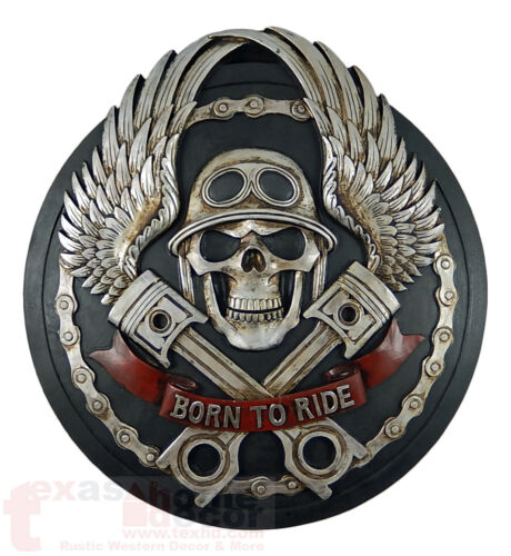 """Skull with Angel Wings Wall Plaque """"Born to Ride"""" Biker Decor Motorcycle 16"""""""