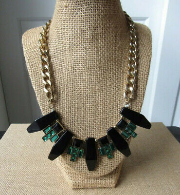 H&M Black + Green Tribal Style Statement Necklace Gold-like Link Chain Delicate