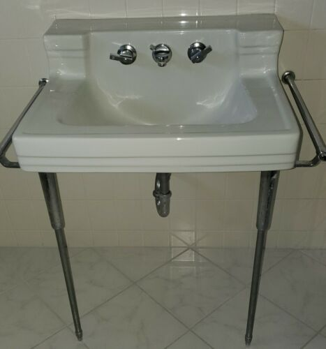 Antique AMERICAN STANDARD Shelf Back WHITE Wall Sink Chrome legs Towel Bars