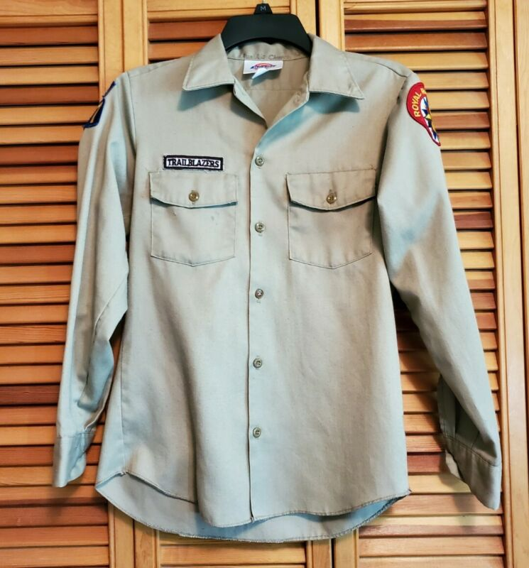 Lot of Vintage Royal Rangers Patches on Uniform Shirt Dickies Size 16