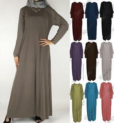 Womens Pocket Plain Simple Abaya Islamic Burka Jilbab Jersey Long Maxi Dress