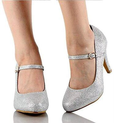 Women Mary Jane Pumps Stiletto Heel Glitter Suede Almond Toe Dress Party Shoes