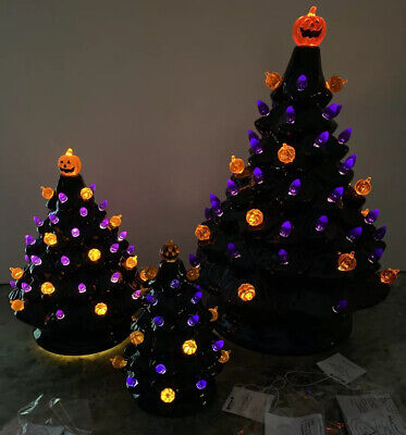 "NEW 13"" 8"" 6"" Ceramic Haunted Black Halloween Tree Pumpkin Lighted Spooky Sounds"