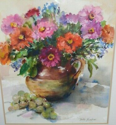 Matted Original Watercolor Painting - Still Life Flowers Vase w/ Grapes