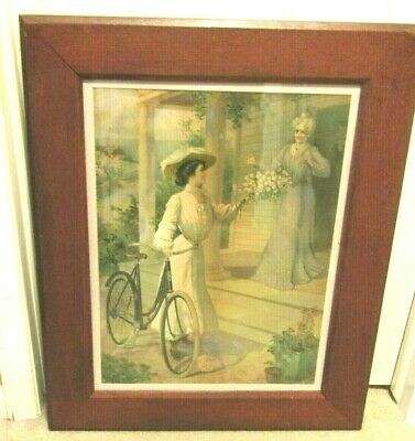 NICE ORIG. 1904 POPE MANUFACTURING BICYCLE CO. ADVERTISING LITHOGRAPH-WOOD FRAME