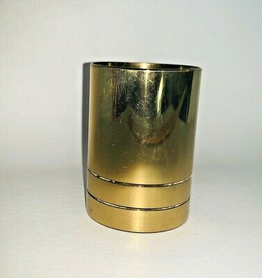 Vintage Brass Pencil Pen Cup Desk Holder Gold Cup Mcm